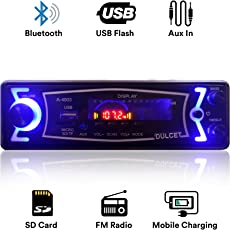 Dulcet DC-A-4003 Fixed Panel Single Din MP3 Bluetooth/USB/FM/AUX/MMC Car Stereo with Premium 3.5mm AUX Cable