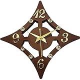 Smart Art Wood Carving Wood Wall Clock (30 x 2.5 x 30 cm, Brown)