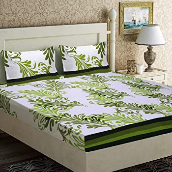 Home Candy 152 TC Elegant Microfiber Double Bedsheet with 2 Pillow Covers - Green