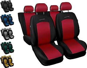 Sitzbezüge Auto Universal Set Autositzbezüge Schonbezüge Schwarz-Rot Vordersitze und Rücksitze mit Airbag - Sport Line