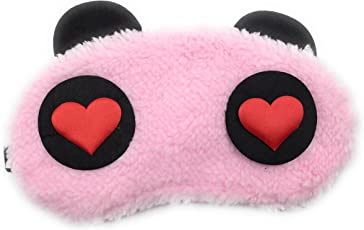 24x7 eMall Cute Panda Soft and Comfortable Fabric Blindfold Eyes with Black-Out Design for Proper Sleep (Pink Hearts) - Set of 1