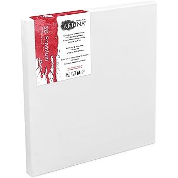 Artina 50x70cm Leinwand aus 100% Baumwolle auf stabilem Keilrahmen in 3D Premium Qualität - Weiß vorgrundiert - 380 g/m²