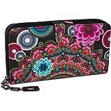styleBREAKER portafogli con fiori e etnici e design colorato, design vintage, chiusura con cerniera, portamonete, donna 02040