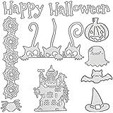 9 Pièces Set de Matrices de Découpe d'Halloween Modèle de Pochoirs de Coupe en Métal Forme de Crâne Citrouille Maison pour Fa