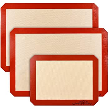 CMflower Draway Silicone Baking Mats Stick Non-Slip Washable Reusable Heat-Resistant BPA Free FDA and LFGB Certified Approved,Set of 3, Food-Grade, Brown and Red
