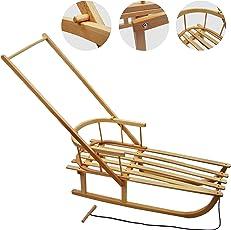 Rawstyle Holzschlitten mit Rückenlehne + Zugleine + SCHIEBESTANGE - Lehne - Kinderschlitten - Schlitten aus Holz NEU