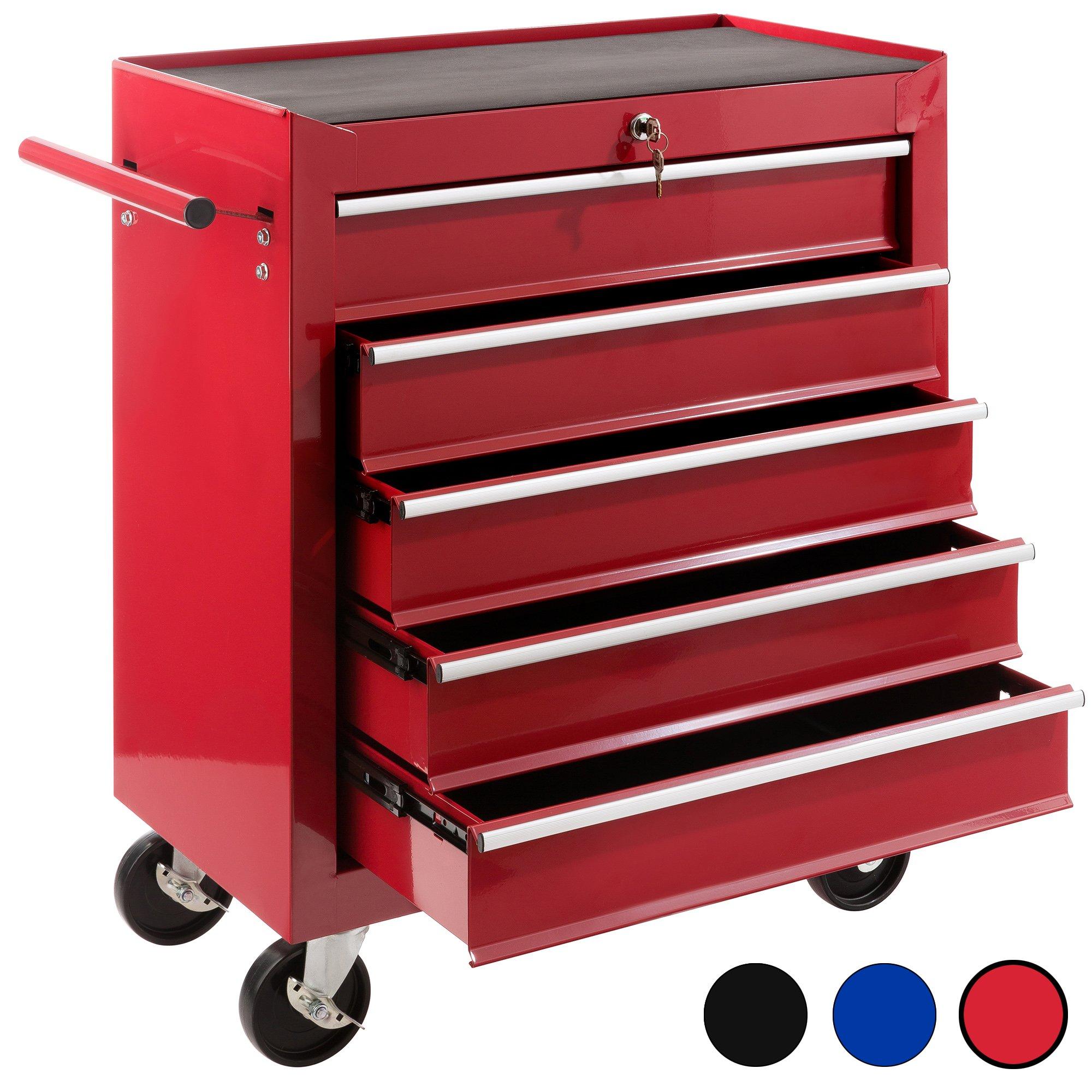 Arebos Werkstattwagen mit 5 Fächer, zentral abschließbar, Antirutschmatten, rot