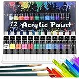 Colori Acrilici per Dipingere, TOUSEEDA 12x12 ml Colori Acrilici Set per Carta, Roccia, Legno, Ceramica, Fai-da-Te Set di Pit