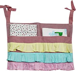 Kadambaby - Hanging Storage Organizer for Diapers, Toys, Books - Can be used on Nursery , Strollers, Baby cribs, Baby cots, Bunk Beds/ Pockets Hanging Bedside Storage/ Bed Pockets - frill