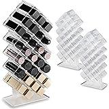 باي أليجوري (مجموعة من 2) حامل منظم للمكياج من الأكريليك لأحمر الشفاه 28 قطعة تخزين مستحضرات التجميل مصممة لوضعها بشكل مسطح و