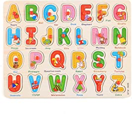 FunBlast Wooden Colorful Learning Educational Board for Kids with Knobs, Educational Learning Wooden Board Tray, Size- 30 X 22 cm, Available in 4 Different Variants (Caital Letters)