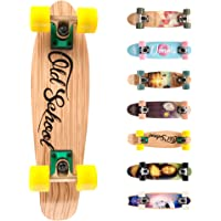 Meteor Skateboard Mini Cruiser Retro Board Completo con Cuscinetti ABEC-7 e Ruote PU Ideale per Bambini Adolescenti e Adulti Ragazzo e Ragazza