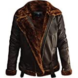So-Shway Leather Flying Jacket Mens - Leather Bomber Jacket Mens - Aviator Leather Pilot Jacket Sheepskin Jackets for Men