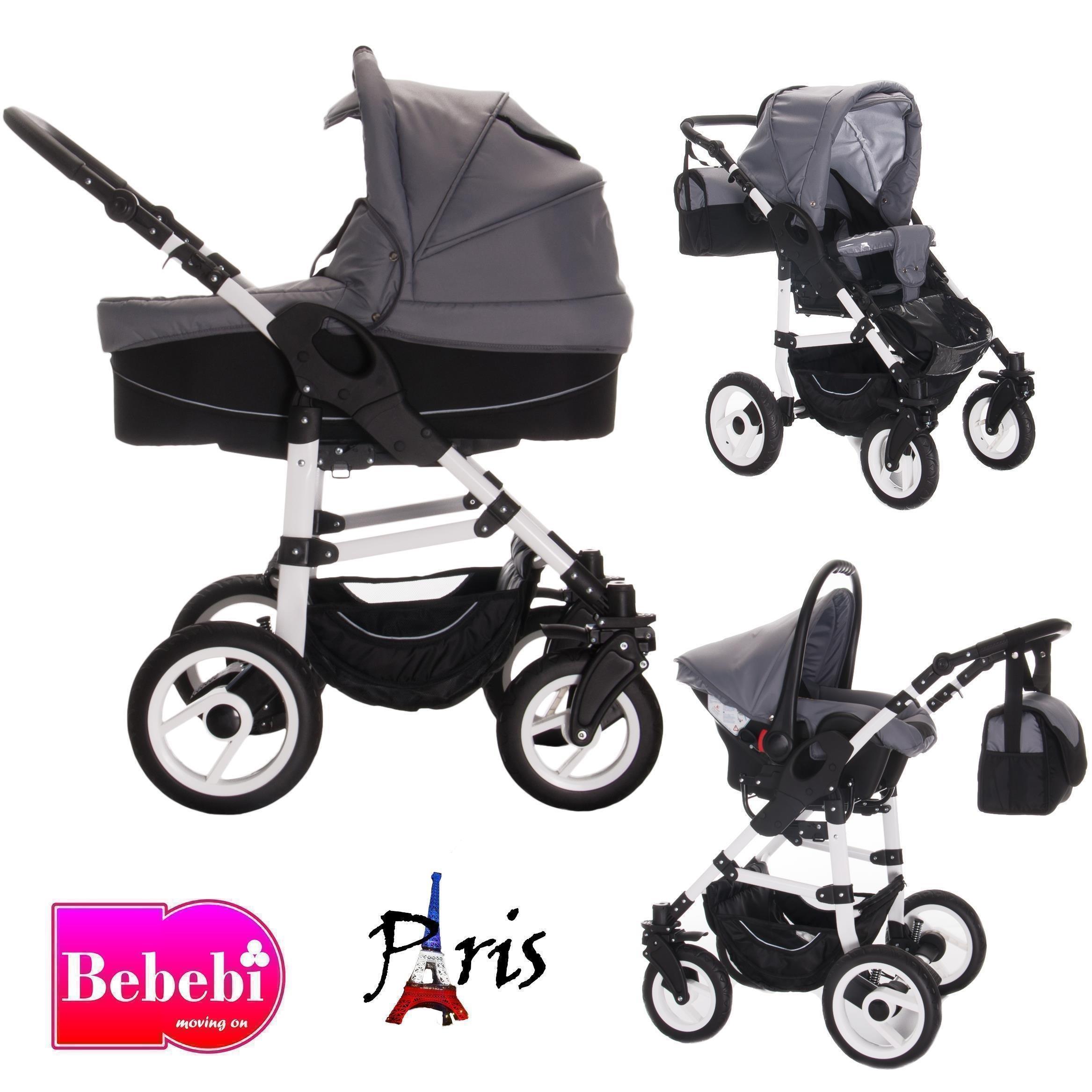 Bebebi Paris | 3 in 1 Kinderwagen Komplettset | Hartgummireifen | Farbe: Arc de Triomphe
