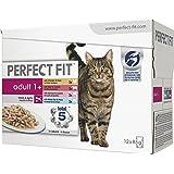 Perfect Fit Katzen-/Nassfutter Multipack Adult 1+ für erwachsene Katzen Adult Mix, 48 Portionsbeutel (4 x 12 x 85 g)