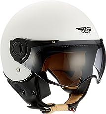 Moto Helmets H44 Matt White · Bobber Cruiser Jet-Helm Vintage Moto Helmetsrrad-Helm Helmet Biker Vespa-Helm Roller-Helm Scooter-Helm Chopper Retro Pilot Mofa · ECE zertifiziert · inkl. Sonnenvisier · inkl. Stofftragetasche · Weiß · S (55-56cm)