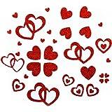 Oblique Unique Herzen Sticker in Rot, Gold oder Silber - Glitter Glitzernde Herzen (Rot)