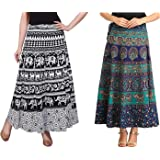BLACK MACY Fashion Printed Cotton Multi Color Wrap Around Long Skirts Combo of 2 (Assorted Colour & Assorted Design Blue, Black)