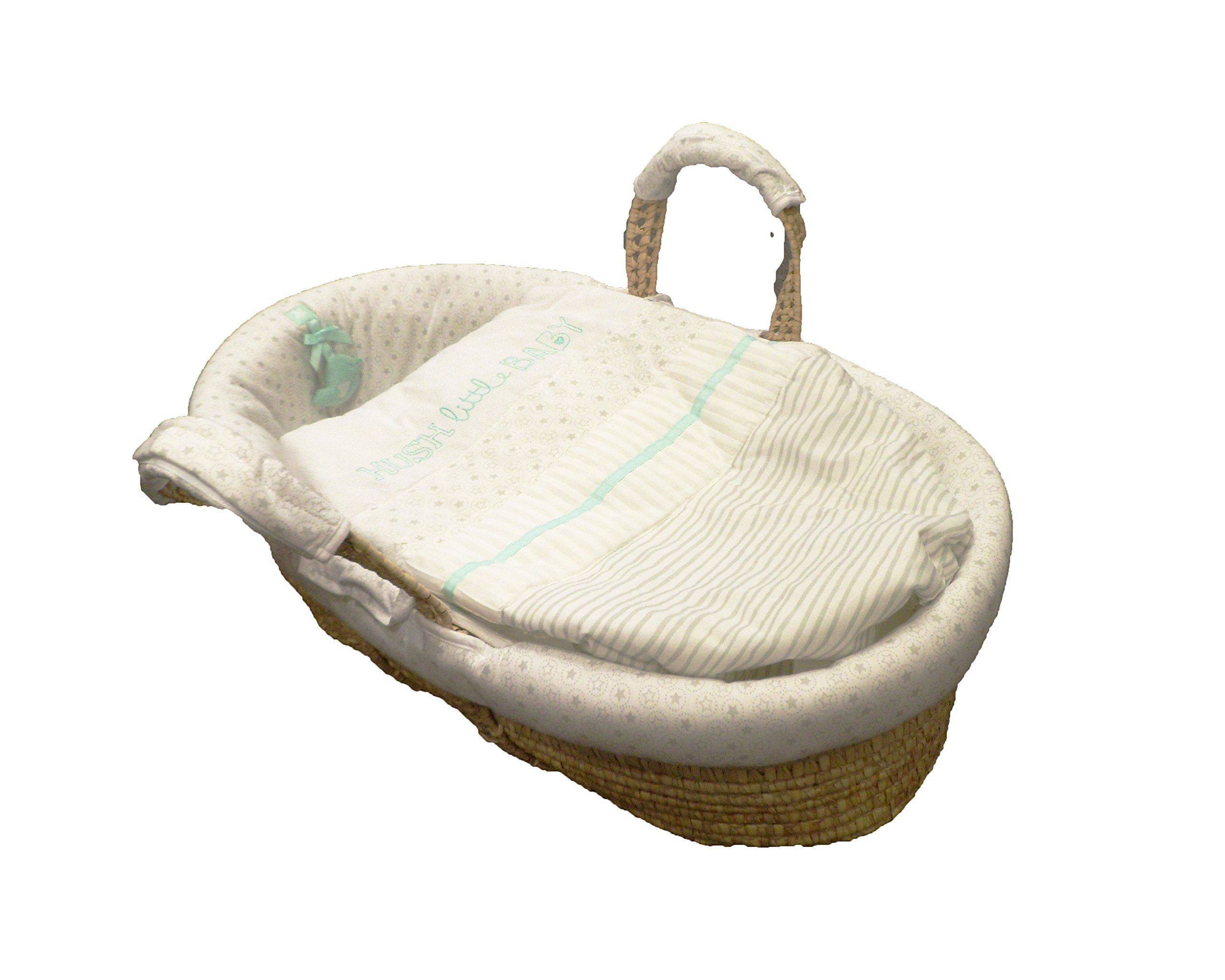 Natures Purest Hush Little Baby Palm Moses Basket  Dressed on a palm Moses basket, base measurement 70cm Padded dressing for added comfort Dressings are machine washable 3