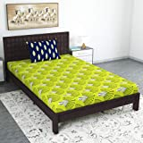 Divine Casa 100% Cotton Abstract Print Mix N Match Single Bed Sheet with 1 Pillow Cover for Single Bed, Olive Green & Blue