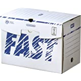 Fast Lot de 10 Boîtes Archives en Carton Dos 20cm Montage Manuel Blanc/Bleu