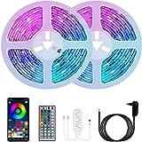 20M Tira LED, COOLAPA Luces de Tiras LED RGB 5050 12V con 360 LEDs, Control de APP y Remoto Control de 44 Teclas, 28 modos de