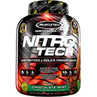 Muscletech Performance Series Nitrotech Whey Protein Peptides & Isolate (30g Protein, 2g Sugar, 3g Creatine, 6.8 BCAAs, 5g Glutamine & Precursor, Post-Workout) – 4.01lbs (1.82kg) (Chocolate Mint)