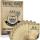 100 morceaux de papier à lettre vintage A4 100g / qm avec 5 feuilles de papier kraft - vieux papier kraft pour certificats ca