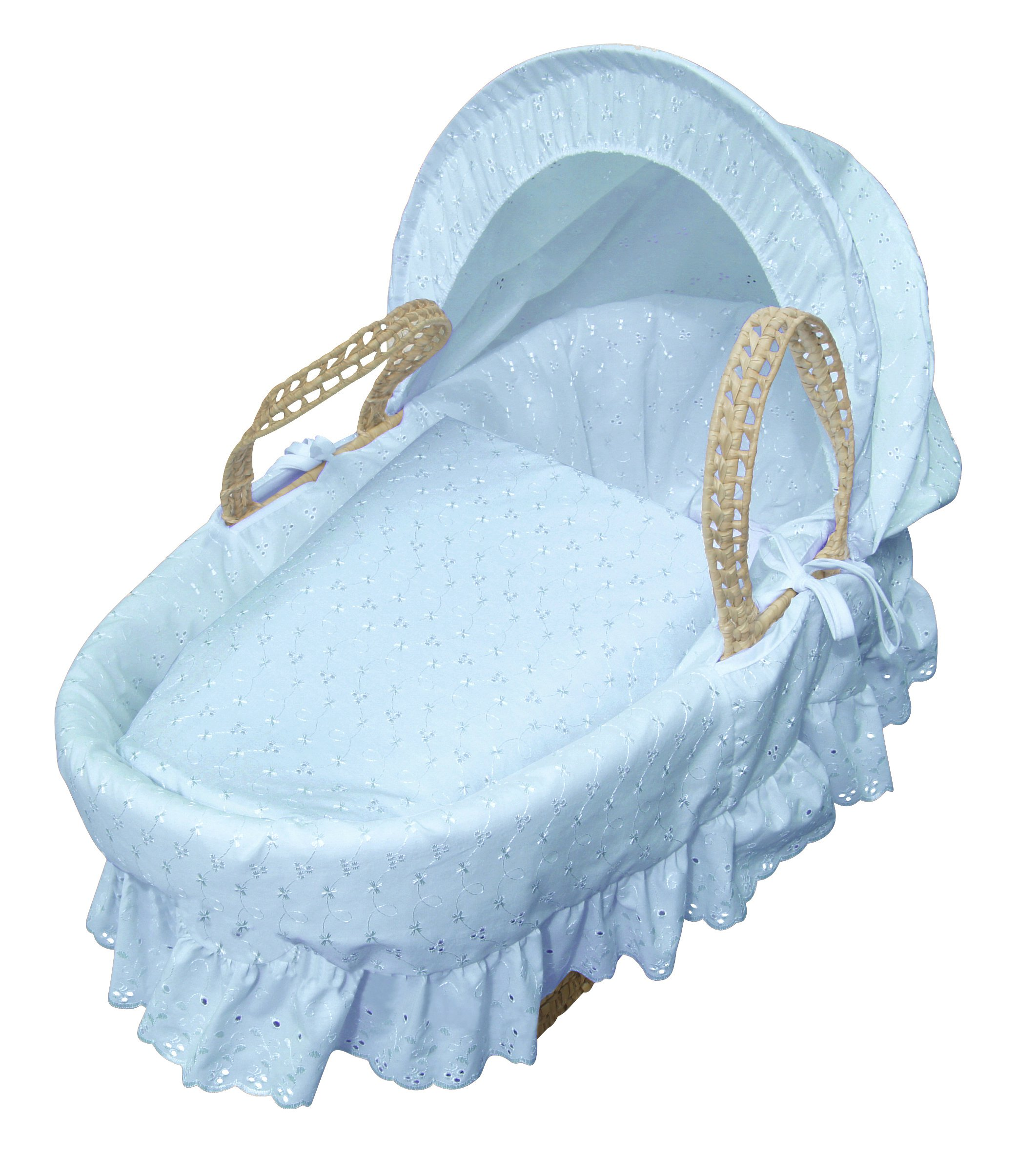 Blue Broderie Anglaise Palm Moses Basket & Folding Stand Elegant Baby Suitable from newborn for up to 9kg, this Moses Basket uses Easy-care Poly Cotton with a soft padding surround Suitable from newborn to 9 months It also includes a comfortable mattress and an adjustable hood perfect to create a cosy sleeping space for your precious little one 3