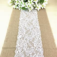 ChezMax Burlap Lace Hessian Table Runner for Wedding Party Engagement Event Birthday Graduation Banquet Table Decoration White