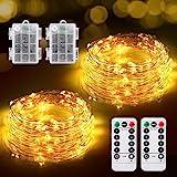 Guirnalda Luces Pilas, [2 * 12M] TOPYIYI Luces LED Habitacion 240 LED Impermeable Luces Navidad Mando a distancia con 8 modos