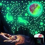 WELLXUNK Adhesivos de Pared Luminosos, 297 Piezas Adhesivos de Pared Decorativos Fluorescentes de Luna Y Estrellas, Utilizado
