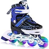 WeSake Inline skates voor kinderen, jongens, meisjes, instelbare rolschaatsen, kinderen met lichtgevende PU wielen drievoudig