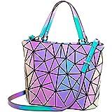 LOVEVOOK Handtaschen Damen, Geometrische Holographic Tasche, Henkeltasche mit Reißverschluss, Leuchtende Schultertasche, Best