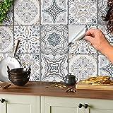 24 adhesivos de mosaico para suelos y paredes, azulejos de 15 x 15 cm, adhesivos para azulejos, láminas decorativas para azul
