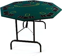 Nexos Casino Poker Tisch 8eckig für 8 Personen mit Getränkehalter klappbar