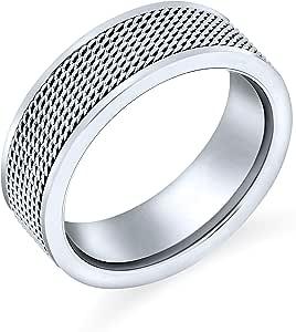 Bling Jewelry Corda Uomini Chain Mail Cavo Maglia Fede Nuziale Anello per Uomini per Donne Il Tono Dell'Argento in Acciaio Inox 8 Mm