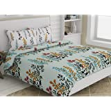 haus & kinder Dream Floral Romance 100% Cotton Double Bedsheet with 2 Pillow Covers, 144 Thread Count (Tropical Green)