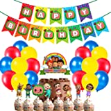Party Propz Cocomelon Theme Birthday Party Decorations Combo Items 52Pcs Banner, Balloons, Cake - Cup Cake Toppers for Kids B