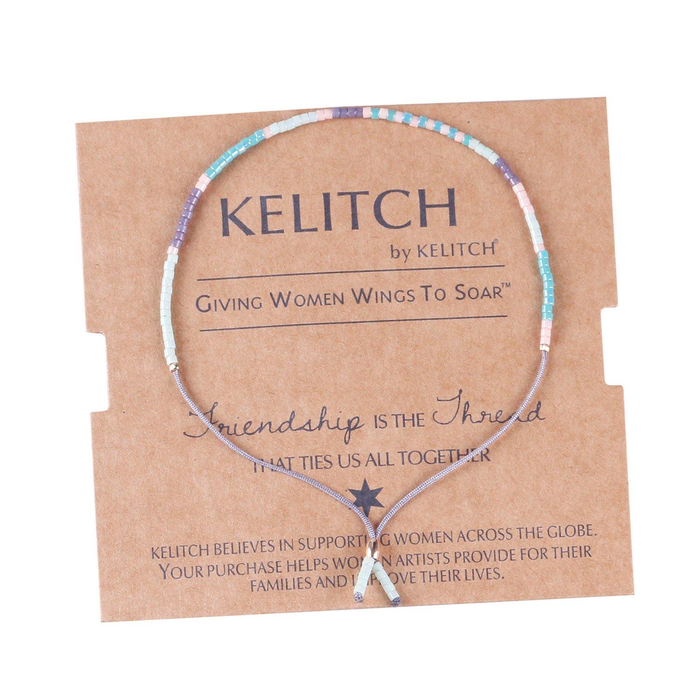 KELITCH Bohemian Armband Rocailles Perlen Handmade Mehrfarbig Zart Schnur Freundschaftsarmbänder - Blau Lila