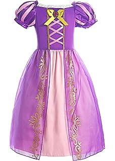 Matt Viggo Abiti da Ragazza Principessa Rapunzel Costumi Lacing Girocollo a Pieghe Manica Corta Gonna Vestito