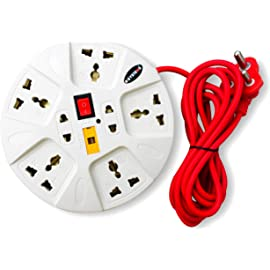 eSYSTEMS Extension Board, Multi Plug Point Extension Cord  2.8 Meter , Led Indicator   Universal Sockets    Red Wire