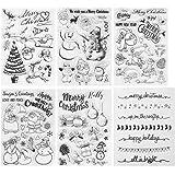 Kesote 70 Pcs Noël Tampons Transparent Sceau Silicone Forme de Père Noël, Arbre de Noël, Renne, Bonhomme de Neige pour DIY Sc