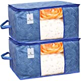 Kuber Industries Leheriya Design Underbed Storage Bag, Storage Organiser, Blanket Cover Set of 2 - Royal Blue, Extra…