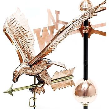 Grande banderuola 3 D Aquila segnavento in rame con piede Anemoscopio