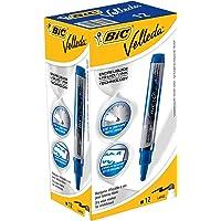 BIC Velleda Feutres pour Tableau Blanc Effaçables à Sec Pointe Conique Large - Bleu, Boîte de 12