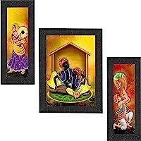 SAF Set of 3 Musical & Dancing Rajasthani Modern Art Digital Reprint Painting (22 inch x 14 inch,6518) SANFSM6518