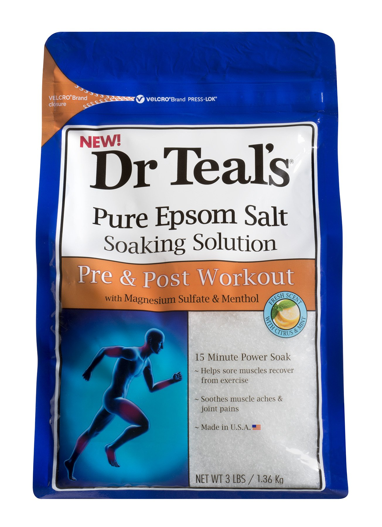 Dr Teal's Pure Epsom Salt Soaking Solution for Pre and Post Workout with Magnesium Sulfate & Menthol, 1.36 kg