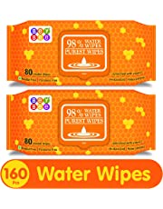 Bey Bee Hypoallergenic Baby Water Wipes for New Born Babies Sensitive Skin, 80 Wipes (Pack of 2)