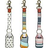 3 عبوات من حامل المفاتيح معقم اليدين، زجاجة محمولة بحجم مناسب للسفر لتعقيم اليدين، غسول، صابون، زيوت عطرية - مشبك على حلقة مف